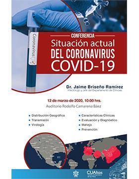 Conferencia: Situación actual del Coronavirus COVID-19 a cabo el 12 de marzo a las 10:00 horas.