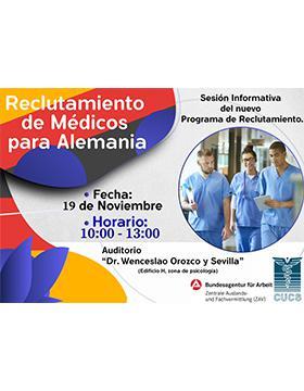 Reclutamiento de Médicos para Alemania a llevarse a cabo el 19 de noviembre de 10:00 a 13:00 horas.