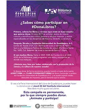 Campaña #DonaLibros 2019 en la FIL a llevarse a cabo del 30 de noviembre al 8 de diciembre.