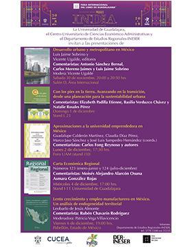 Presentaciones de libros del CUCEA, en el marco de la FIL a llevarse a cabo el 30 de noviembre y el 1, 2, 4 y 6 de diciembre.
