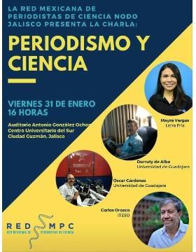 Charla: Periodismo y ciencia a llevarse a cabo el 31 de enero a las 16:00 horas.