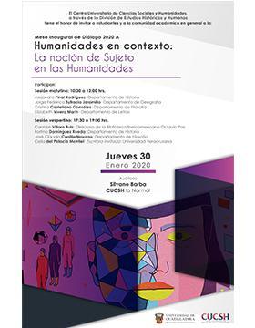 Mesa inaugural de diálogo 2020A. Humanidades en contexto: La noción de Sujeto en las Humanidades.