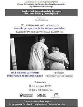 Cartel informativo - Conferencia: El cuidado de la salud desde la perspectiva de los sistemas sociales