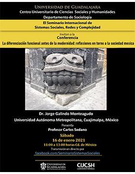 Cartel informativo - Conferencia: La Diferenciación funcional antes de la modernidad: Reflexiones en torno a la sociedad mexica