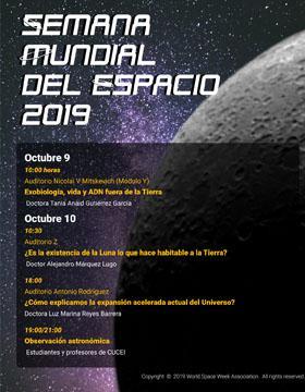 Cartel para a iniciar la Semana Mundial del Espacio 2019