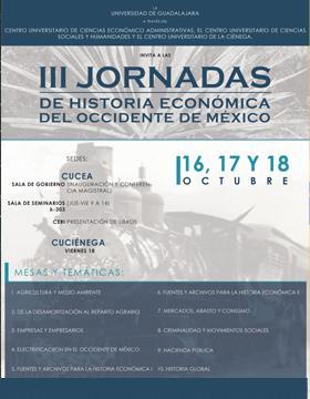 Cartel para promocionar las Jornadas de Historia Económica del Occidente de México