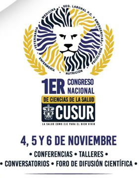 Cartel informativo para promocionar el Primer Congreso Nacional de Ciencias de la Salud que se desarrollará en el CUSur
