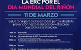 Ciclo de conferencias de prevención de la ERC por el Día Mundial del Riñón a llevarse a cabo el 11 de marzo a las 11:00 horas.