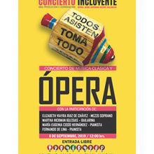 Cartel informativo del Concierto incluyente: Concierto de música clásica y ópera, a desarrollarse el 6 de septiembre, 12:00 horas, Auditorio Manuel Buendía de la Escuela Preparatoria 7