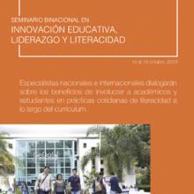 Cartel para anunciar el Seminario binacional en innovación educativa, liderazgo y literacidad