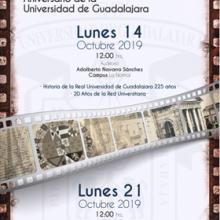 Cartel para promocionar la Presentación de documentales Aniversario de la Universidad de Guadalajara